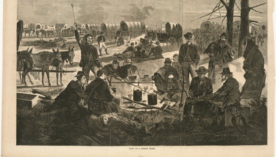 Halt of a wagon train cropped