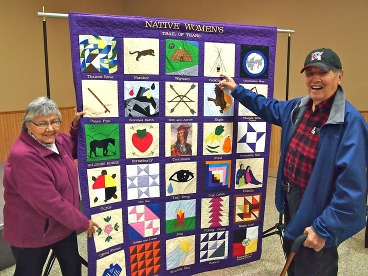 Native Women's Trail of Tears quilt at the launch of the Longwoods Barn Quilt Trail, Melbourne, ON